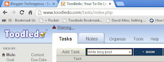 Adding a new task in Toodledo