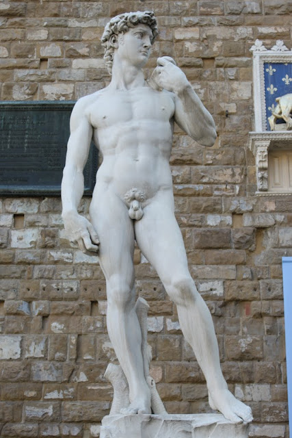 A replica statue of Michelangelo's David at Palazzo Vecchio in Florence, Itally