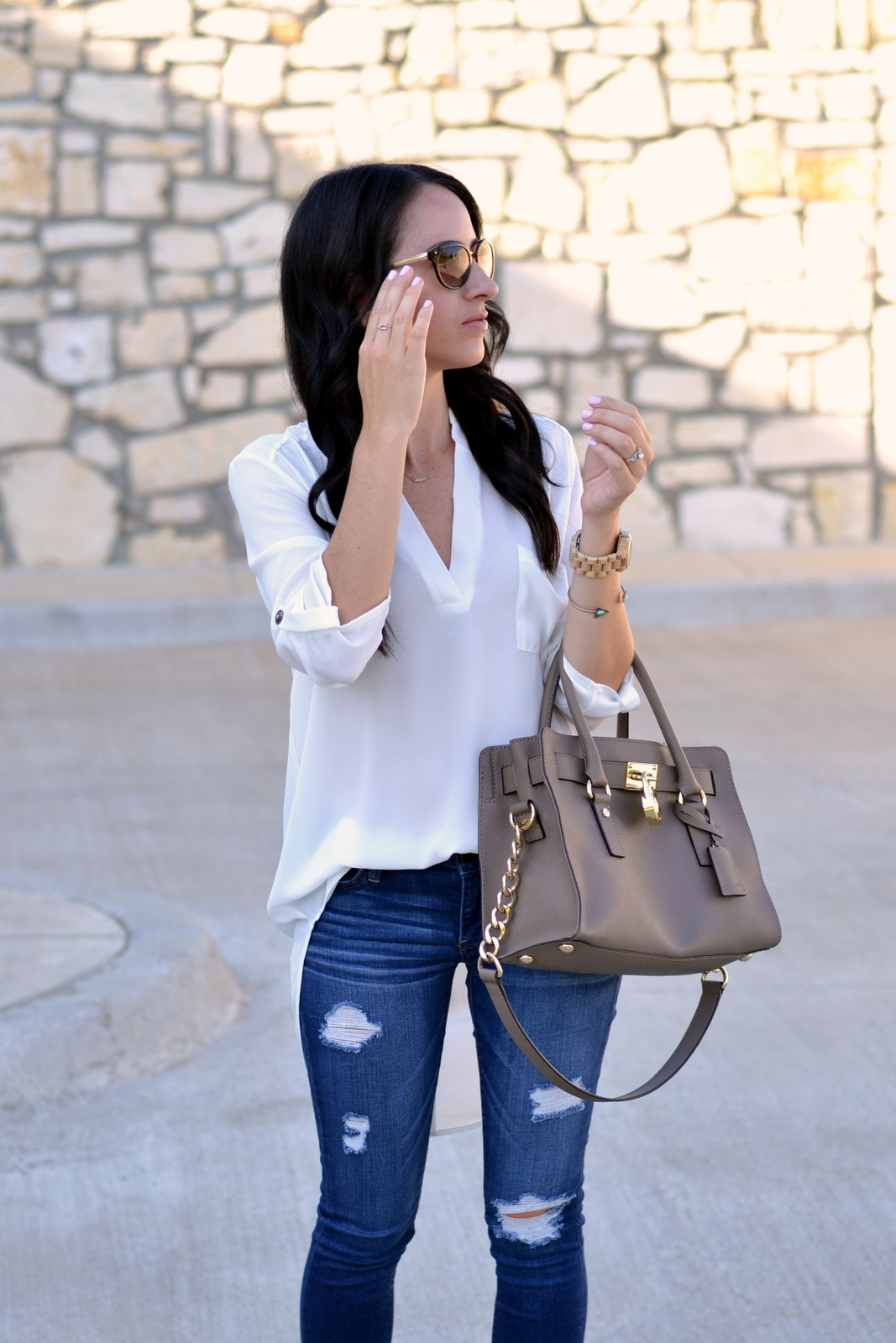 Casual Look with MK bag and distressed denim