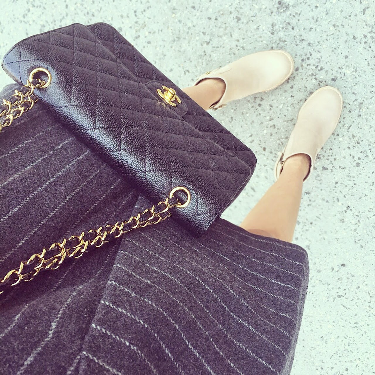 joa pinstripe dress, cat foot wear boots, classic chanel flap bag, fashion blog