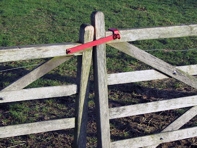 wooden fence with red lock