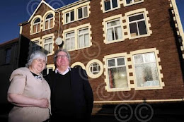 NEVILLE AND HAZEL STEPHENS PICTURED OUTSIDE OF THEIR FORMER ZION CHURCH AT TALYWAIN IN PONTYPOOL.