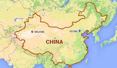 Ubicación en mapa de REGION DE XINJIANG EN CHINA