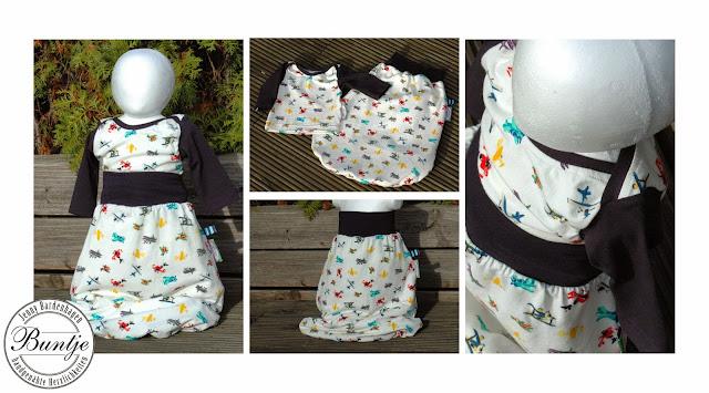 Babykombi Strampelsack Pucksack Kuschelsack Sack Baby Bündchen blau weiß bunt Flugzeuge Junge Shirt amerikanischer Ausschnitt Buntje nähen Farbenmix Dschinni Geschenk Geburt Taufe