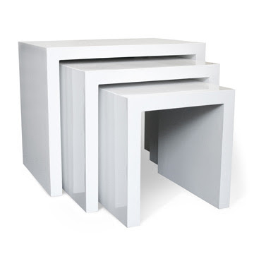 Jonathan Adler White Lacquered End Nesting Tables