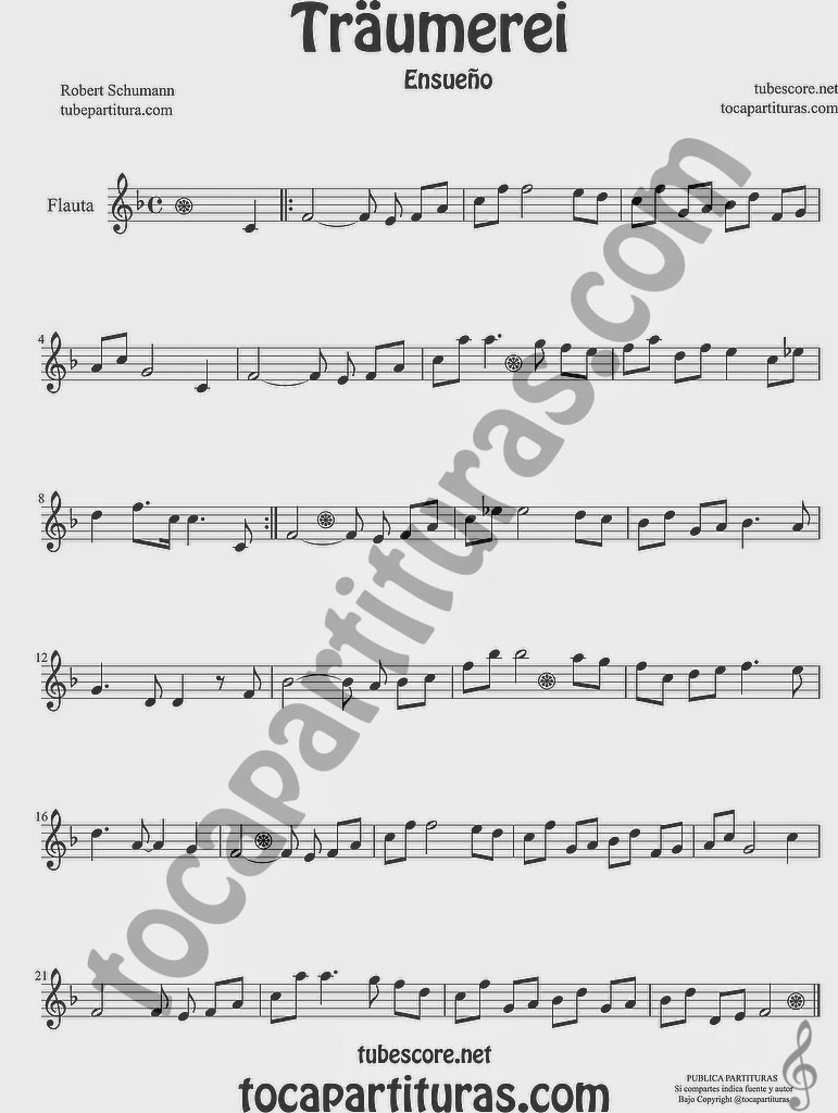 Traumerei Partitura de Flauta travesera o traversa Sheet Music for Flute Music Scores de Robert Schumann