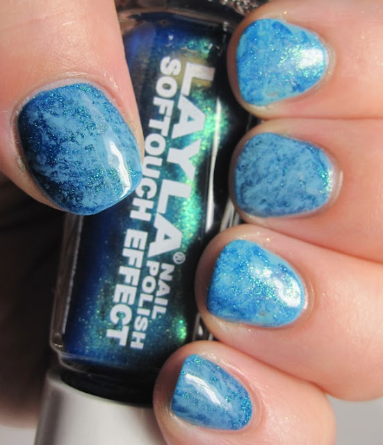 saran wrap mani with Layla 10 and Cover Girl Blue Hawaiian