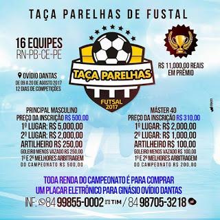 VEM AI: Taça Parelhas de Futsal com premiação de R$ 11.000,00