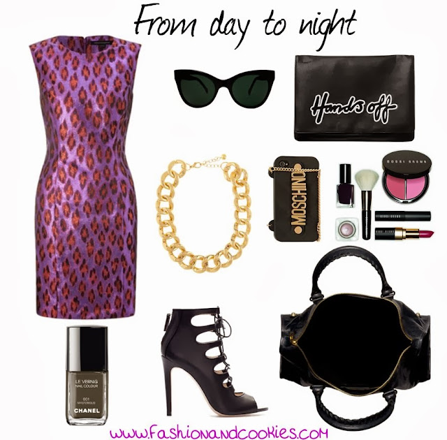 Purple animalier dress, Day to Night, Fashion and Cookies, fashion blogger