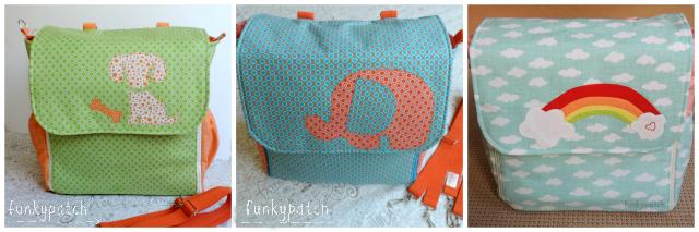 Bolso-mochila en tela para bebé,personalizado y hecho a mano