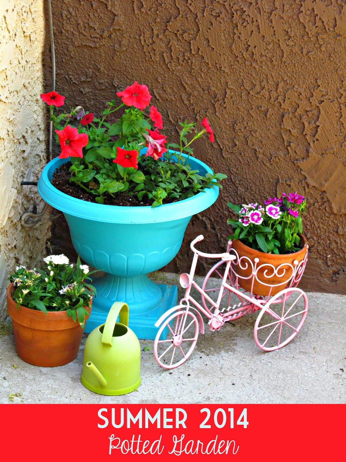 Summer 2014 Potted Garden (Spray Painted Plastic Urn & Bicycle Planter)