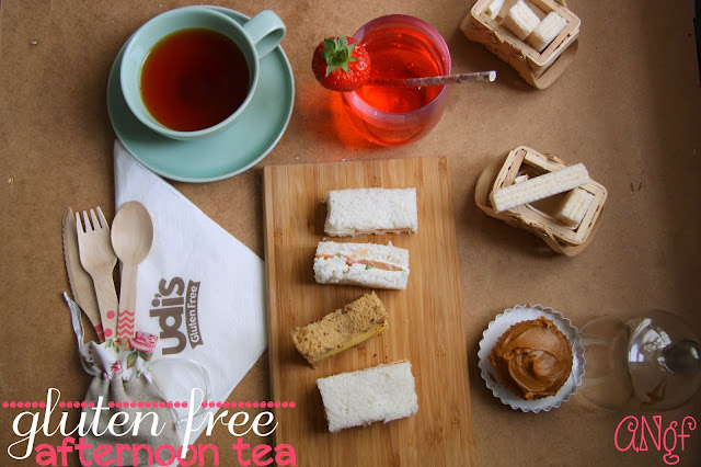 Overhead of a gluten free afternoon tea setting from Anyonita-nibbles.co.uk
