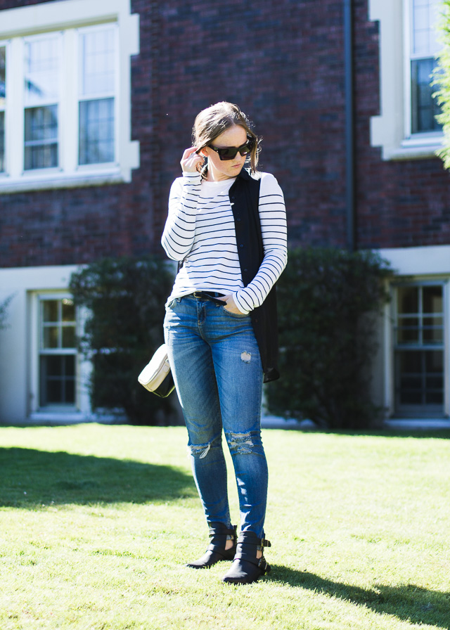 Stripes, black and denim, it doesn't get any better for Vancouver fashion blogger, In My Dreams