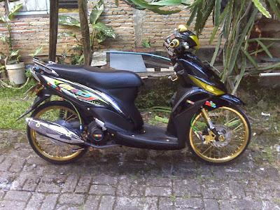 gambar hasil modif motor mio j, modif motor mio j hitam