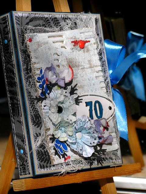 kartka książka_ 70 urodziny_ mikrogranulki szklane_kartka z tapety