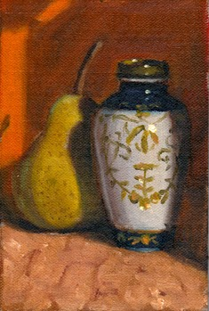 Oil painting of a small blue and white Chinese-style vase casting a shadow on a pear.