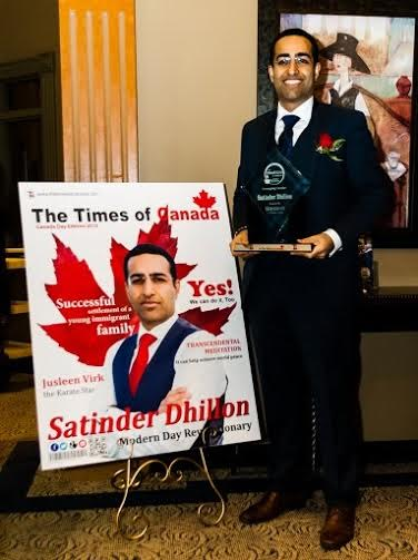 Satinder Dhillon Receives The Times of Canada Award