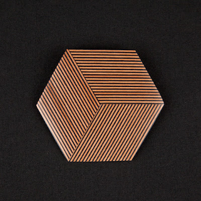 Hexagonal Stripy Wooden Brooch