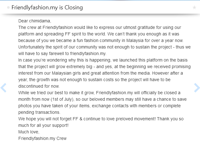 friendly fashion closing
