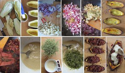 Zubereitung Auberginenschiffchen mexikanische Art mit Thymian-Mandel-Creme überbacken