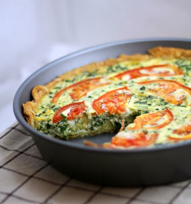 tomato bacon spinach quiche