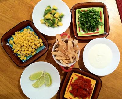 chorizo & shrimp tortilla bisque garnishes @ SouthernSpoon blog