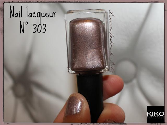 vernis nail lacqueur kiko nude rose 303 paillettes