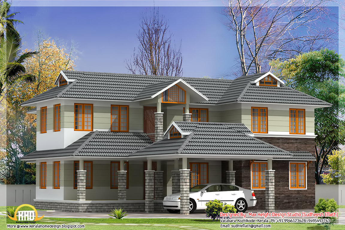 2500 SqFt Sloping Roof Indian House Elevation Kerala