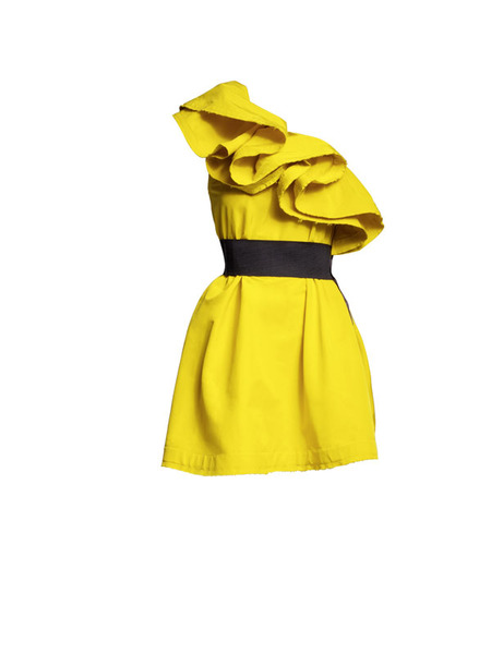 Vestido amarillo volantes Lanvin H&M FW 2010-2011