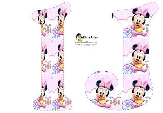 Alfabeto de Minnie Bebé con fondo en rosa y blanco. | Oh my Alfabetos ...