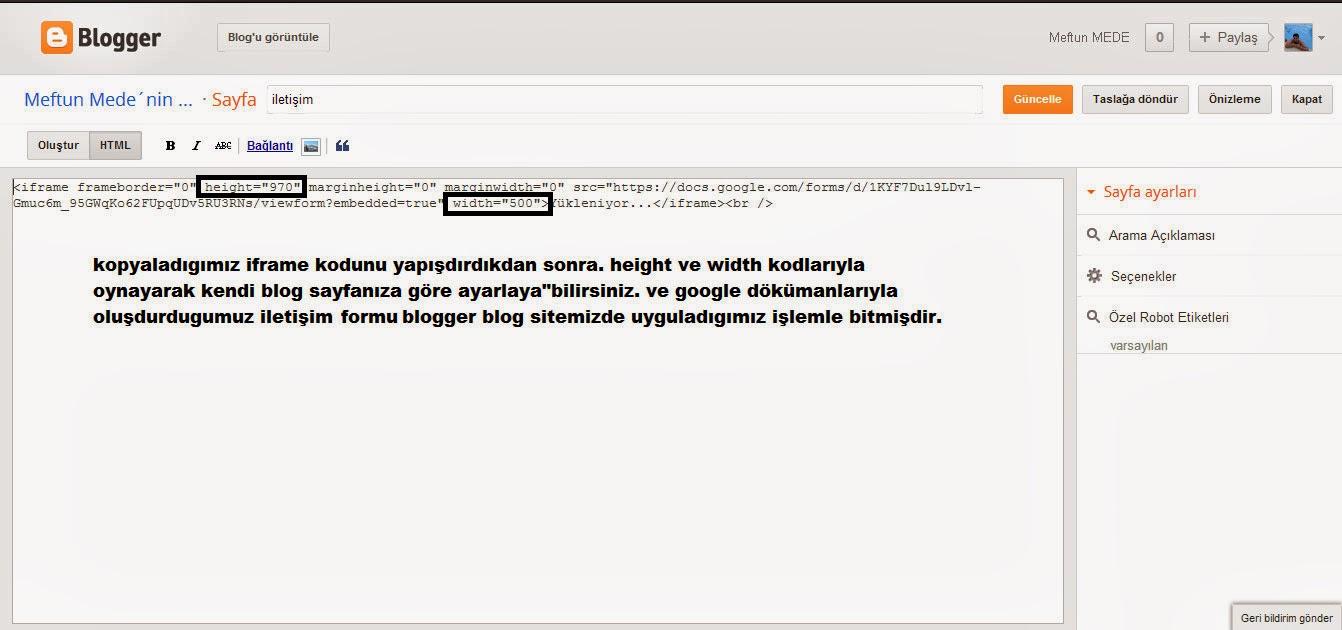 Google dökümanları ile iletişim formu ekleme