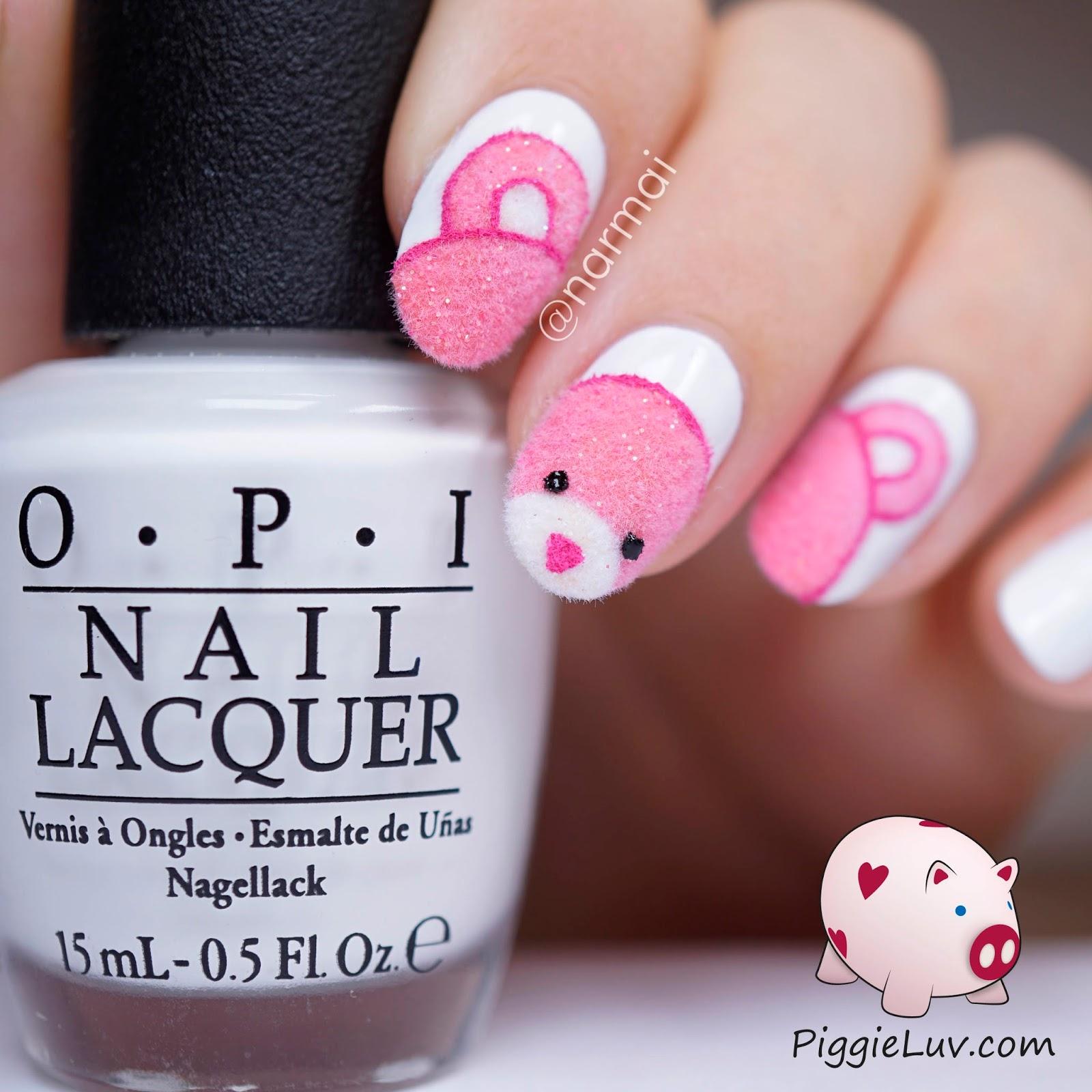 PiggieLuv: Fuzzy pink teddy bear nail art