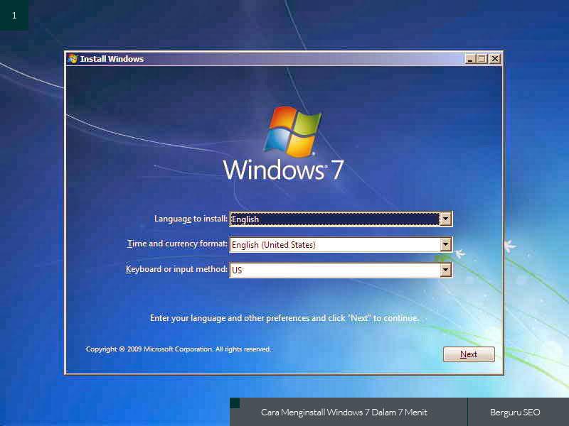 Cara Menginstall Windows 7 gambar 1