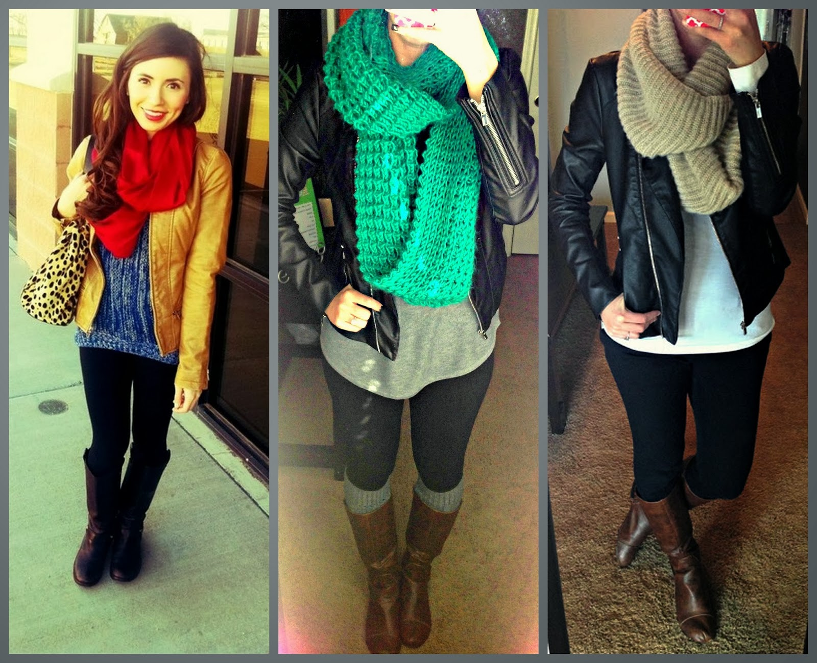 Express (minus the) leather jacket, leggings, scarf, boots