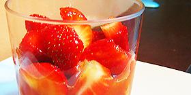 Fresas con zumo de naranja