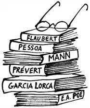livros: Flaubert, Pessoa, Mann, Prévert, García Lorca, E. A. Poe