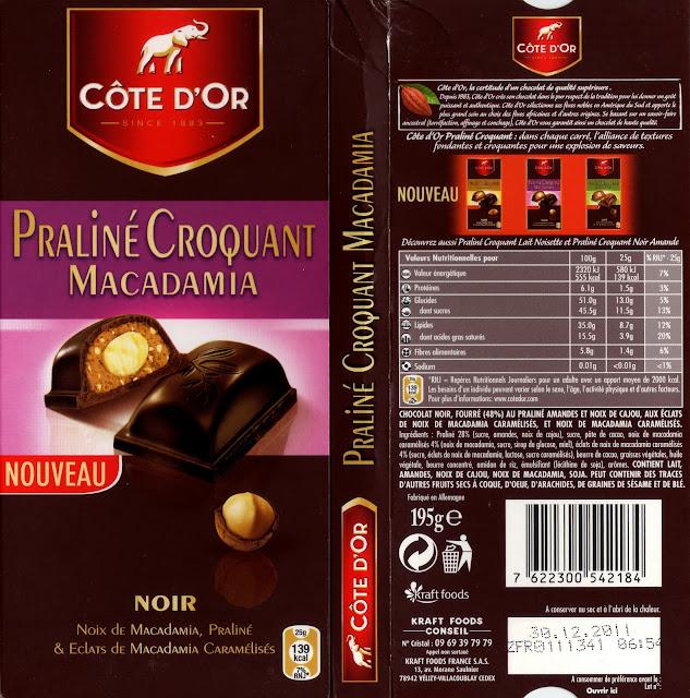 tablette de chocolat noir gourmand côte d'or noir praliné croquant macadamia