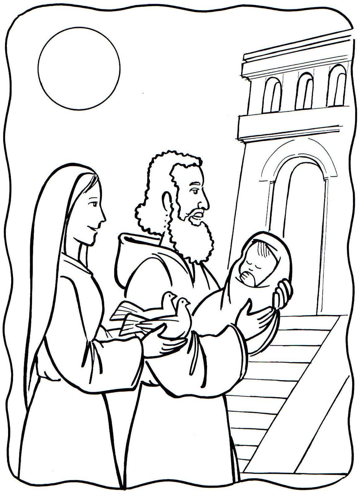 COLOREA TUS DIBUJOS: Dibujo de Jesus llevado al templo para colorear