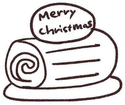 クリスマスケーキのイラスト「ブッシュドノエル」 白黒線画