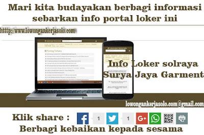 Portal Loker solraya Surya Jaya Garment Terbaru