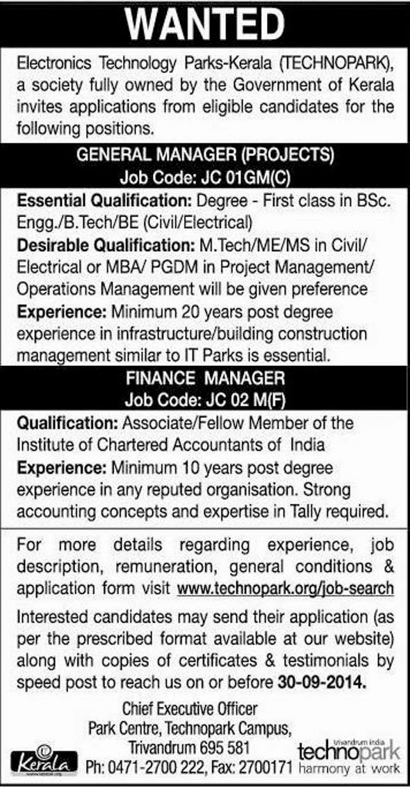 technopark kerala projects general manager and finance manager jobs