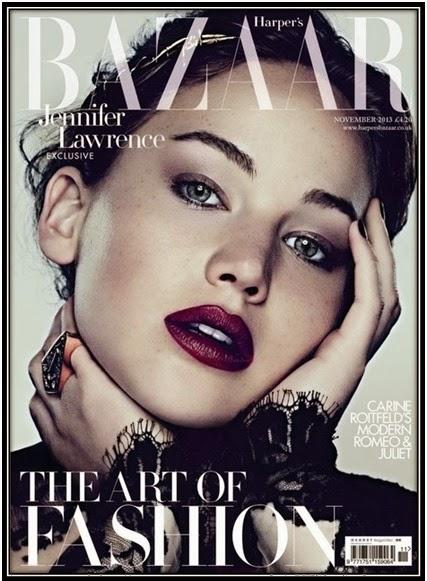 Jennifer lawrence en la portada  harper's Bazaar