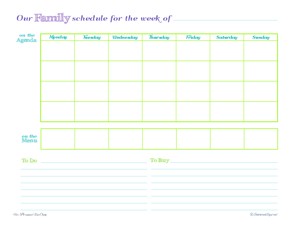 Dynamic image intended for free printable family planner