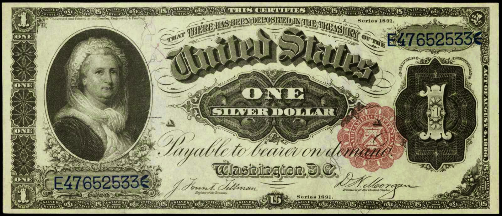 1891 one dollar silver certificate martha washington noteworld 1891 one dollar silver certificate martha washington note 1betcityfo Image collections