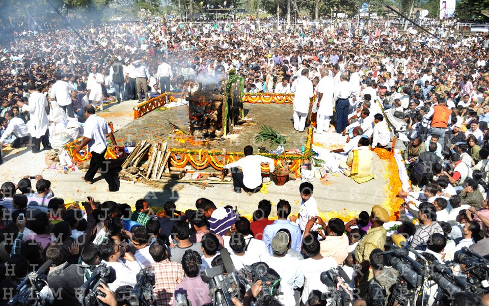 The last rites of Bhupen Hazarika at Guwahati University, Jalukbari, Assam