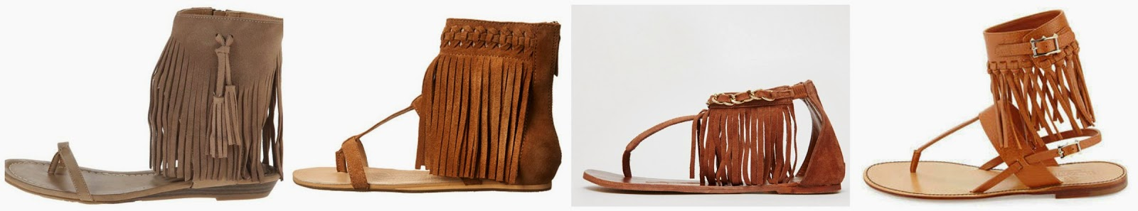 One of these pairs of fringe sandals is from Valentino for $1,075 and the other three are under $135. Can you guess which ones are the designer shoes? Click the links below to see if you are correct!