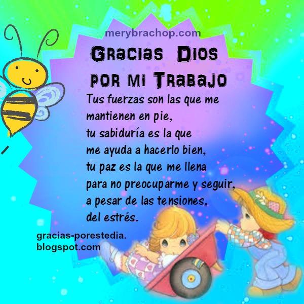 Gracias Dios por trabajo, oración corta, bendición en el trabajo, plegaria, agradecimiento por trabajar en paz