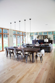 Long Wooden Dining Room Tables For Small Spaces with Unusual Chairs under the Small Lamps on White Ceiling