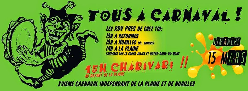 Carnaval de la Plaine et de Noailles à Marseille le dimanche 15 Mars 2015 !