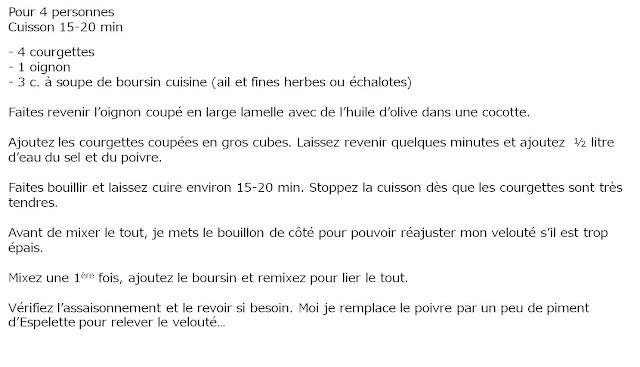 image recette Velouté Courgette Boursin